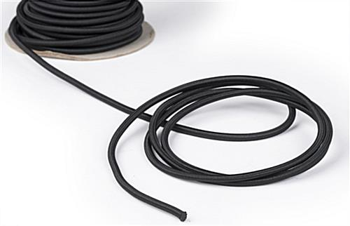 Close Up of 100-ft Black Elastic Stanchion Cord