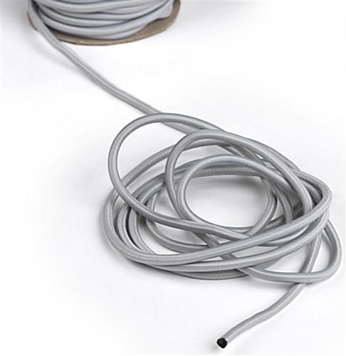 Close Up of 100-Ft Gray Elastic Stanchion Cord