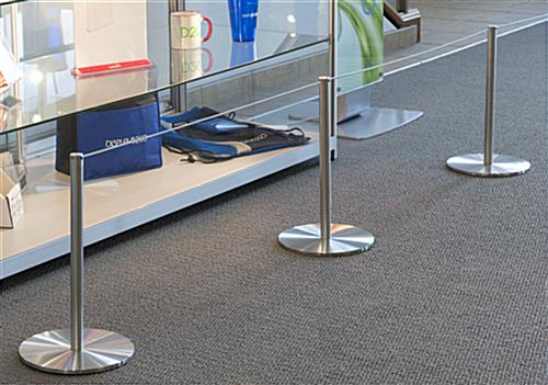 50-ft Gray Elastic Barrier Cord Attached to 3 Low Profile Stanchions
