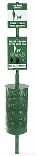 Dog waste station with green powder coated finish