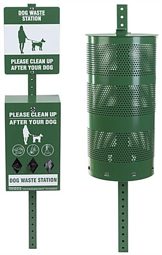 Dog waste station with message sign