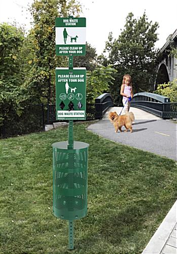 Dog waste station with weather resistant material