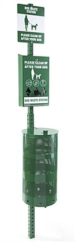 Dog waste station constructed of green aluminum