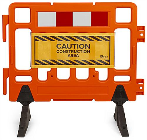Barrier sign has 13.5 inch height