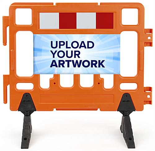 Upload your custom graphics to this barrier sign