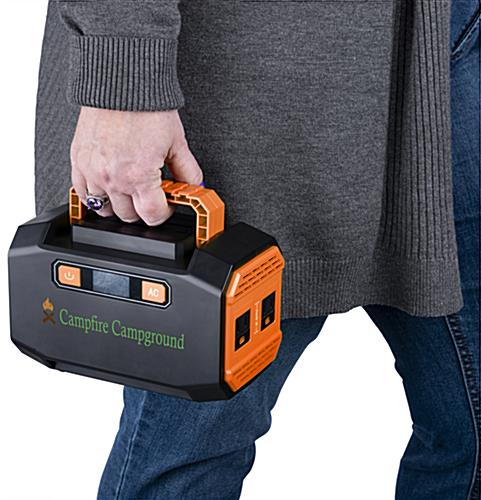 Branded portable power station battery is lightweight