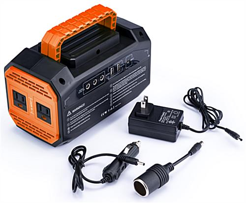 Branded portable power station battery with three adapters included