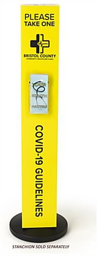 Custom stanchion sleeve with pamphlet holder with 8.5 inch width
