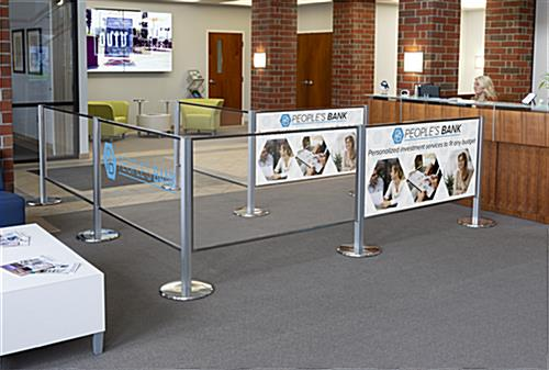UV-printed branded acrylic stanchion panel