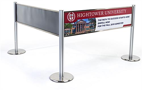 Post and panel stanchion banner system crowd control