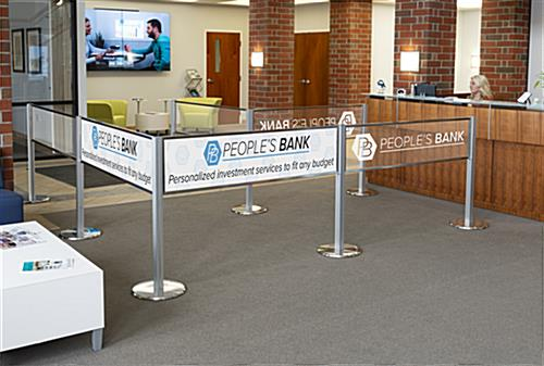 Post and panel stanchion banner system branding opportunity