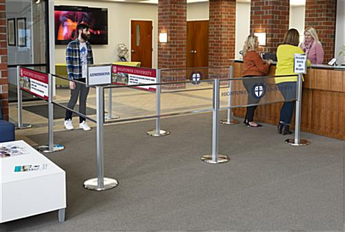 Fully integrated acrylic stanchion panel graphic