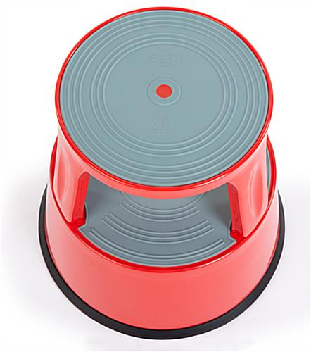 Round rolling step stool top view of rubber step base
