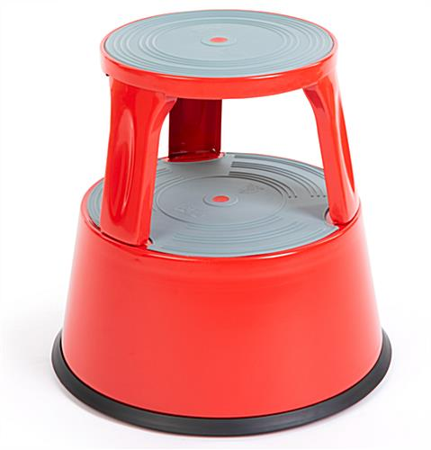 Round rolling step stool bold red color