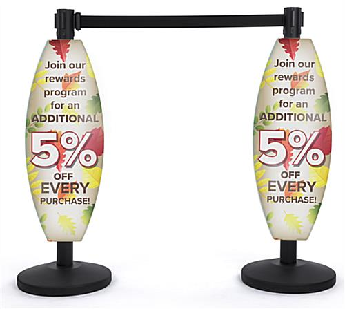UV-printed curved coroplast stanchion sign