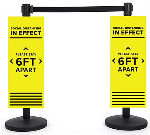 Physical distancing universal post sign with vivid color graphics