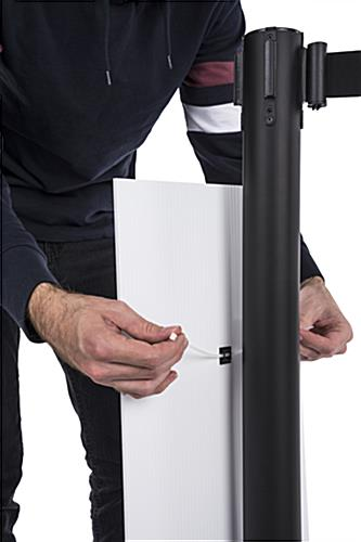 Physical distancing universal post sign with Strong Grip Zip Ties