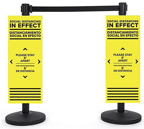 Bilingual stanchion POP distancing signs with pre-printed message
