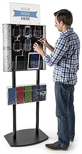 Floor Standing Charging Kiosk with Literature Holder