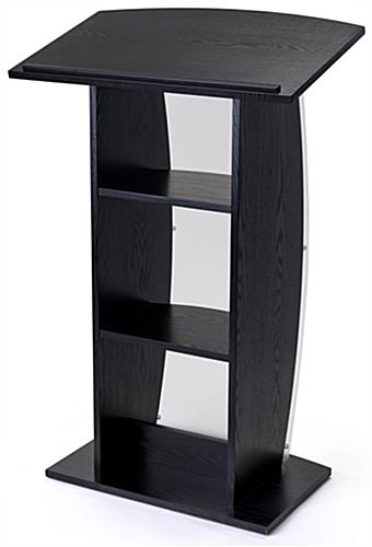 Curved black lectern stand with 2 built-in shelves for storing presentation materials