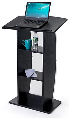 Curved black lectern stand with built-in shelves and large reading surface