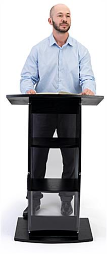 Curved black lectern stand for professional presentations