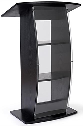 Curved black lectern stand with clear acrylic front panel