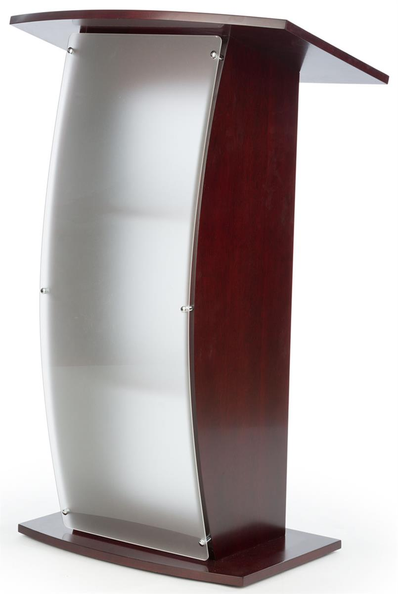 Frosted Lecture Stand Red Mahogany With Curved Acrylic Front