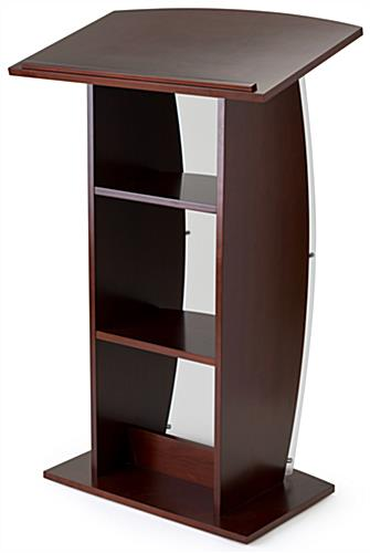 Curved acrylic mahogany pulpit with wooden shelves