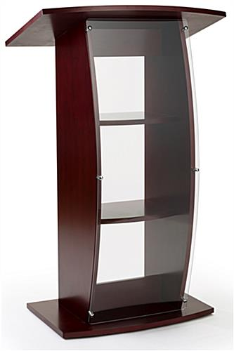Curved acrylic mahogany pulpit with clear front panel