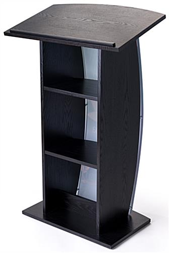 Contemporary curved lectern with custom panel and 2 built-in shelves