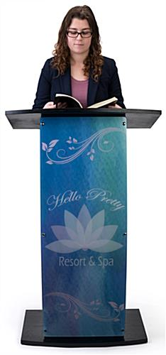 Contemporary curved lectern with custom panel featuring your own artwork