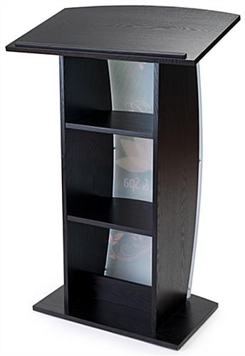 Black custom lectern with 2 shelves for presentation materials