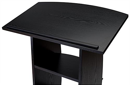 Black custom lectern with large reading surface