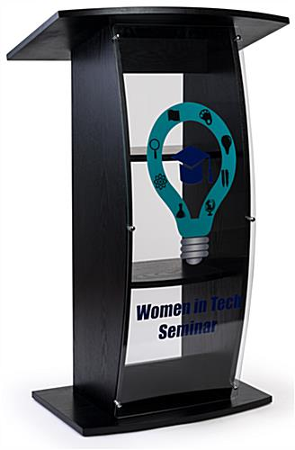 Black custom lectern with personalized front graphic