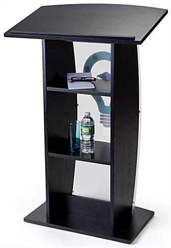 Black custom lectern with shelves for presentation materials