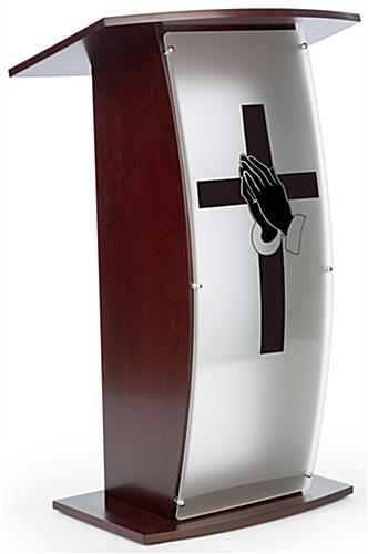 Contemporary lectern with custom curved panel and praying hands graphic