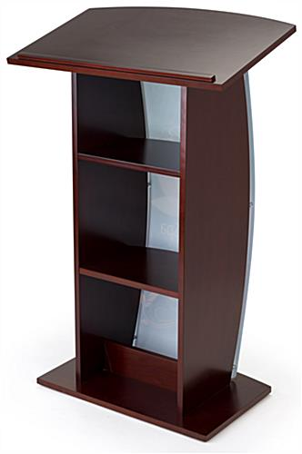 Contemporary lectern with custom curved panel and 2 built-in shelves