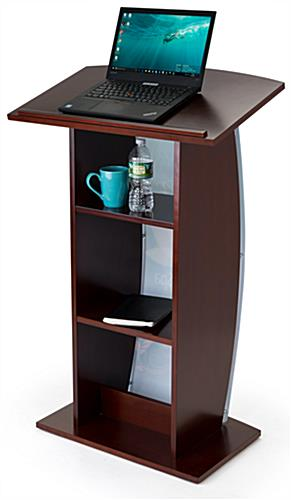 Contemporary lectern with custom curved panel and storage for presentation accessories