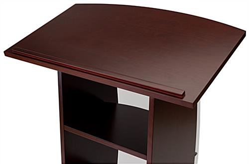 Contemporary lectern with custom curved panel and large reading surface for notes or laptop