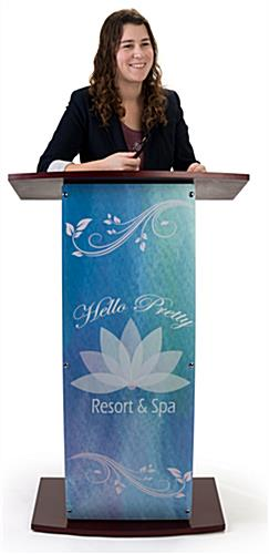 Contemporary lectern with custom curved panel to showcase logos or graphics