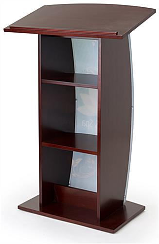 Mahogany custom podium with shelves