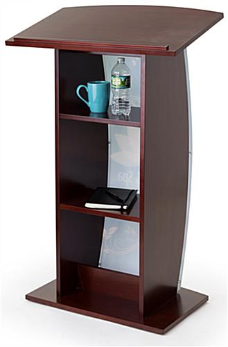 Mahogany custom podium with storage for presentation materials