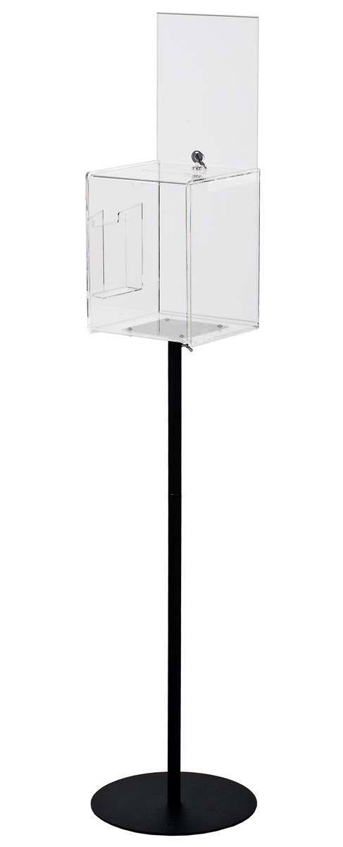 Clear Floor Standing Ballot Box Custom Header With Steel
