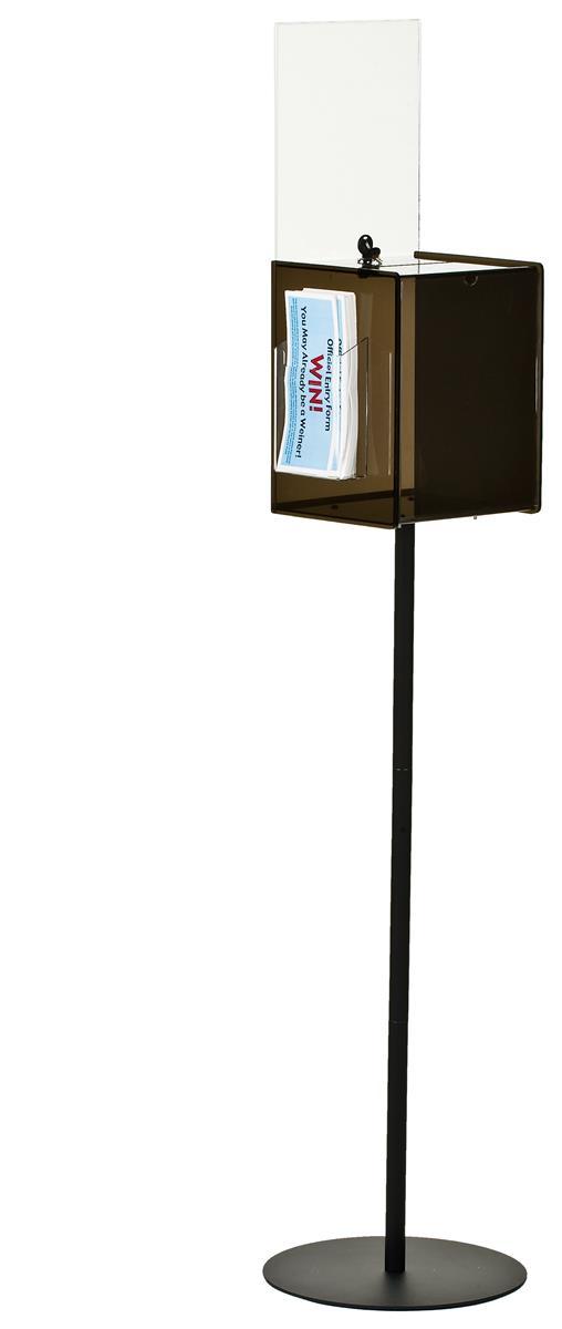 Displays2go Black Acrylic Ballot Box w/ Lock, (2) 8.5 x 1...