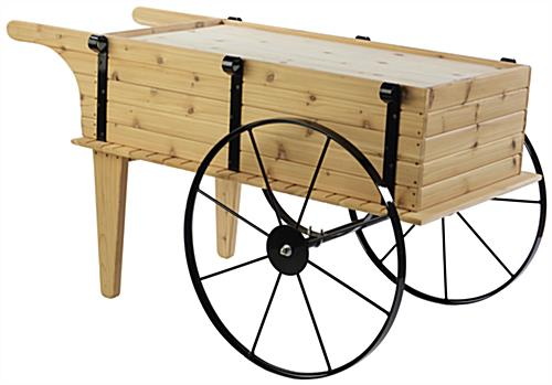 Wooden Flower Cart w/Platform Shelf