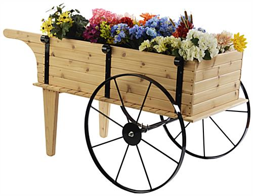 Wooden Flower Cart with Steel Wheels & Plants