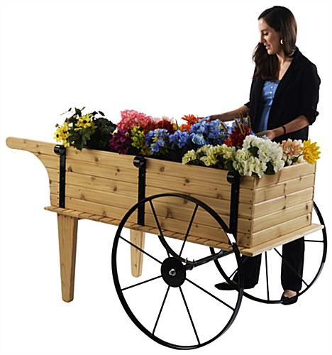Wooden Flower Cart w/Person