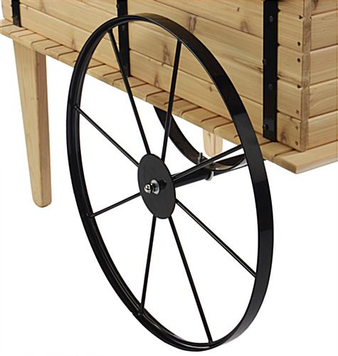 "Wooden Flower Cart 30"" Steel Wheel"