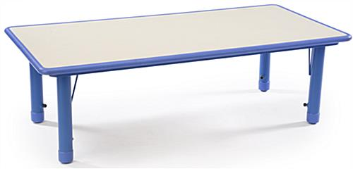 Blue Height Adjustable Kids Table, Rounded Edges